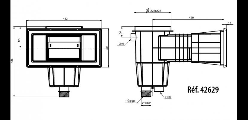 Skimmer standard grande meurtri re b ton construction for Aspirateur piscine sur skimmer