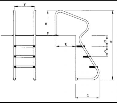 Chelle de piscine echelle standard 4 marches 40154m for Dimension piscine standard