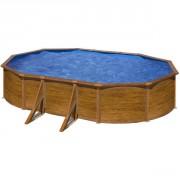 Piscine Pacific ovale 5 m x 3 m x 1,20 m - Imitation bois